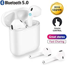 Wireless Earbuds - Bluetooth 5.0 Stereo Noise Canceling Headphones with Deep Bass, Built-in Microphone, in-ear Headphones with Charging Box Compatible iOS/Airpods/iphone/Samsung/Android