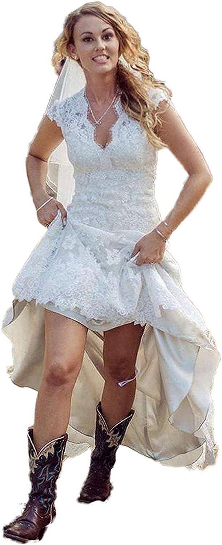 High Low Wedding Dresses Lace Bridal Gowns VNeck Bride Dress Apliques A Line Beach