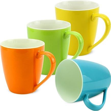 Preisvergleich für matches21 Tassen Becher Kaffeetassen Kaffeebecher bunt Unifarben / einfarbig grün blau gelb orange Porzellan 4-tlg. Set je 10 cm / 350 ml