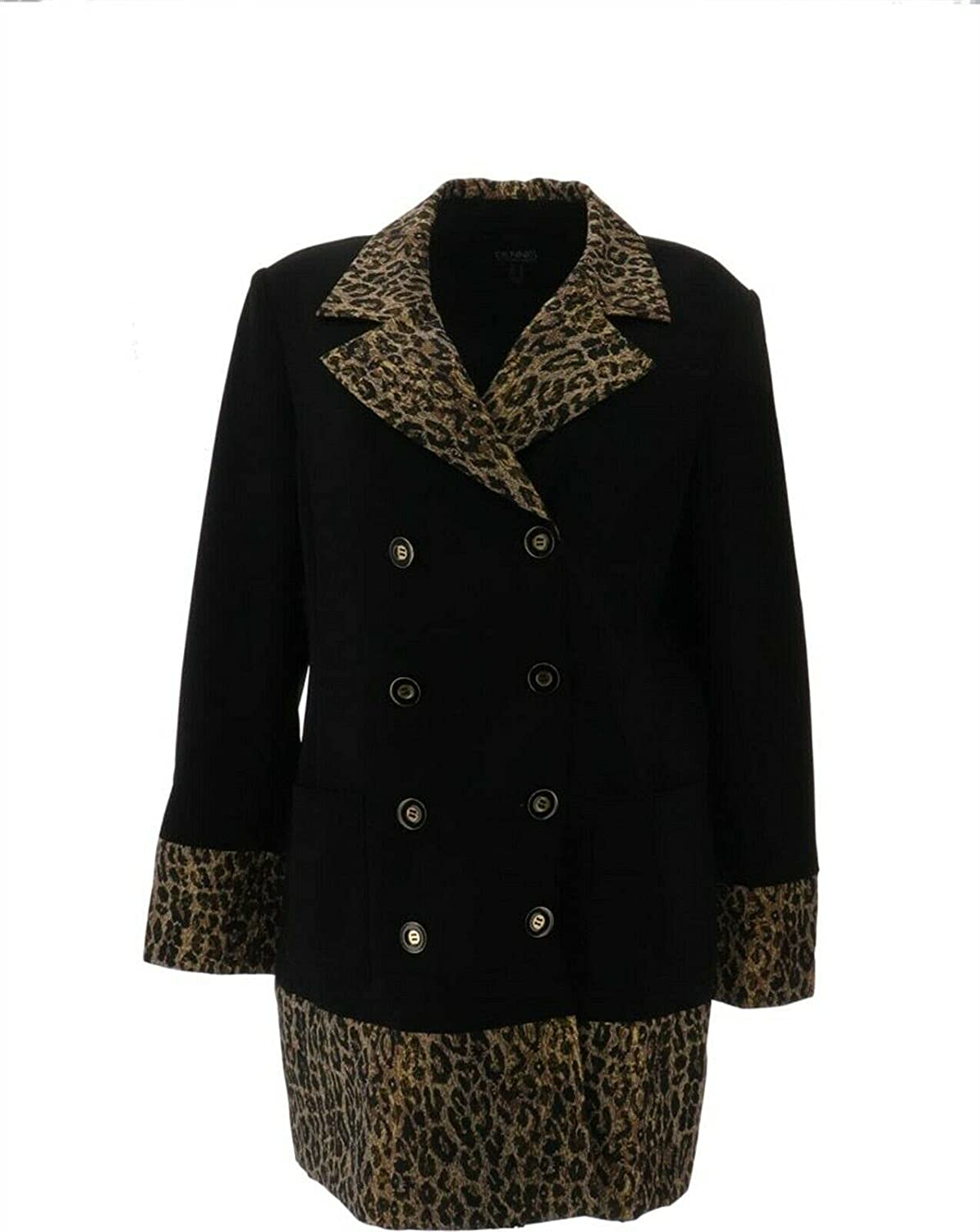 Dennis Basso Luxe Crepe Double Breast Jacket Animal A367847