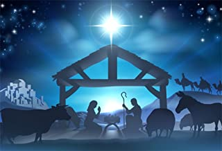 LFEEY 10x8ft Birth of Jesus Backdrop Christmas Night Manger Nativity Scene Silhouette Background Farm Barn Stable Christianity Photography Prop Studio Photo Booth Props