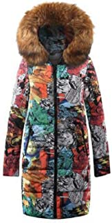 neveraway Womens Faux Fur Collar Padded Cotton Hooded Printed Outwear Jacket