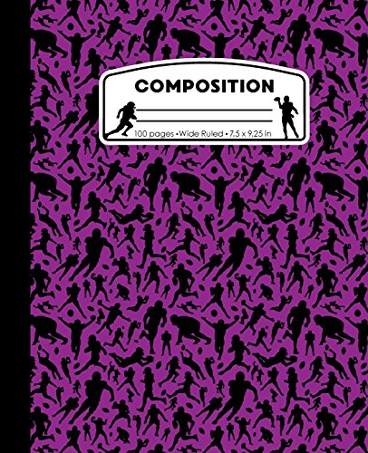 Composition: Football Purple Marble Composition Notebook. Sports Fan Book Wide Ruled 7.5 x 9.25 in, 100 pages journal for girls boys, kids, elementary school students and teachers