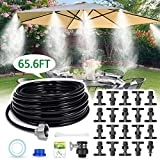 """HIRALIY Misting System Outdoor Misting Cooling System 32.8FT (10M) Misting Line+10 Mist Nozzles+3/4"""" Metal Threaded Adapter for Patio Garden Greenhouse Umbrellas Trampoline"""
