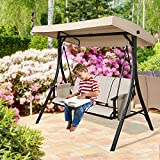 Patio Tree 3-Seater Outdoor Porch Swing Patio Hammock Swing Glider Bench with UV-Resistant Polyester Adjustable Canopy (Tan)