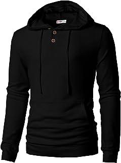 H2H Mens Casual Pullover Hoodie Henley Long Sleeve Lightweight Sweatshirts