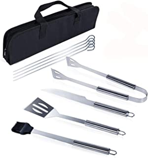 9Pcs BBQ Grill Tool Set Portable Stainless Steel Barbecue Accessories Outdoor Indoor for Camping Grilling Utensils with Bag