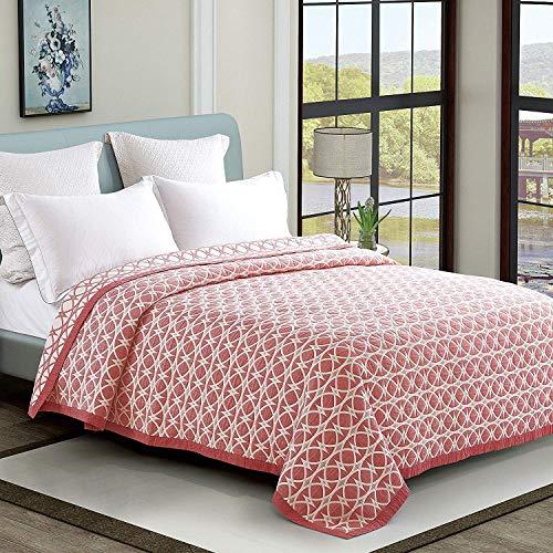 Qucover Tagesdecke 200 x 220 cm Baumwolle Gesteppte Decke für Sommer weiche Wohndecke Kuscheldecke Sofaüberwurf Bettüberwurf für Doppelbett Rosa Modern Stil