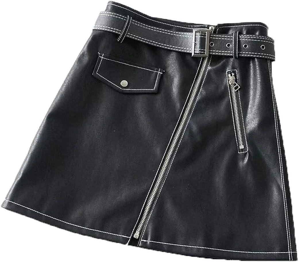 CHARTOU Women's Bodycon High Waist Slanted Zip Belted PU A Line Mini Skirt