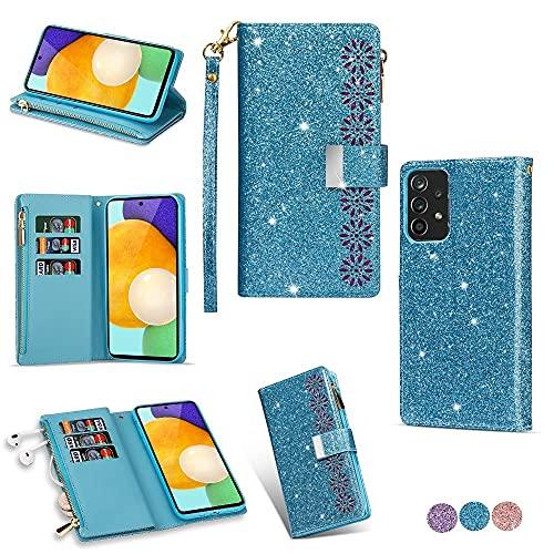 Laf&a Klapphülle für Samsung Galaxy A52 Handyhülle Mädchen Premium Lederhülle Glitzer Blumen Schutzhülle Brieftasche Hülle mit Reißverschluss Flip Hülle für Samsung Galaxy A52 Blau
