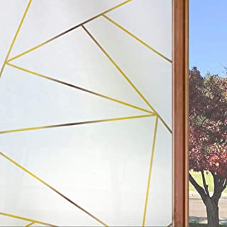 Static Cling Window Privacy Film Frosted Decorative Glass Door Film Sticker for Home Office Living Room, Art Geometry Patt...