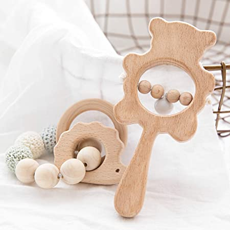 Moose Wooden Grasping Toy Add Teething Beads