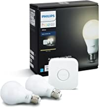 Philips HUE LED Starter Pack, 2 Lámparas White 9.5W A19 E26 + Bridge