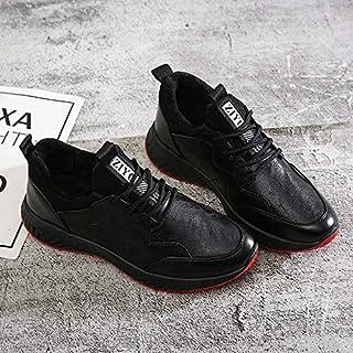 2018 Autumn New Artificial Pu Low to Help Men's Shoes Plus Velvet Two Cotton Men's Sports Shoes (Color : Black White, Size : 41)