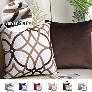 H.VERSAILTEX Pack of 2 Decorative Velvet Pillow Covers Soft Square Throw Pillow Covers for Couch/Bed/Bedroom 18 x 18 Inch 45 x 45 cm, Taupe and Brown Geo Pattern Matched with Solid Brown