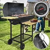 broil-master Barbecue a Carbonella - Trasportabile con 2 Ruote, Acciaio, Nero - Griglia a Carbone, Grill Portatile, BBQ Smoker
