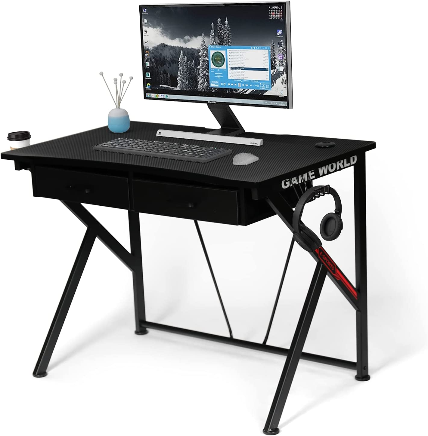LYNSLIM Black Gaming Desk with Drawers PC 40
