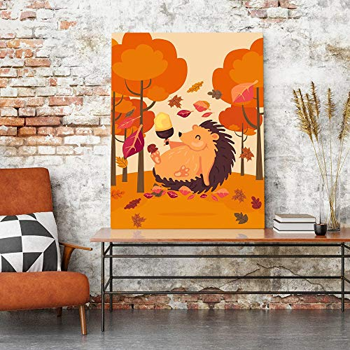 Puzzle 1000 Piezas Paisaje Otoño Imagen Arte Dibujos Animados Erizo Pintura Puzzle 1000 Piezas Animales Juego de Habilidad para Toda la Familia, Colorido Juego de ubicación.50x75cm(20x30inch)