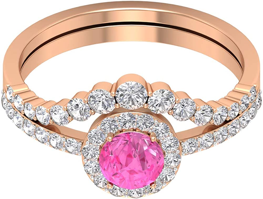 1.50 CT Created Pink Sapphire Ring Diamond Enhan Sale SALE% OFF Engagement with Max 57% OFF