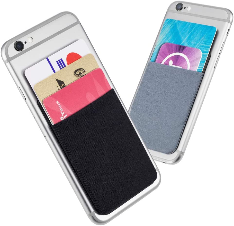 Sinjimoru Phone Card Holder for Back of Phone Wallet Stick On. Sinji Pouch Basic4, Black and Blue Grey (2 Pack)