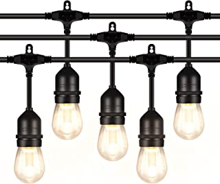 ANTLUX 48FT LED Outdoor String Lights, 1.5W Dimmable Vintage Edison Bulbs, Heavy Duty Cord 15 x E26 Hanging Sockets, Warm White Waterproof Patio Lighting for Bistro Porch Garden Backyard Party