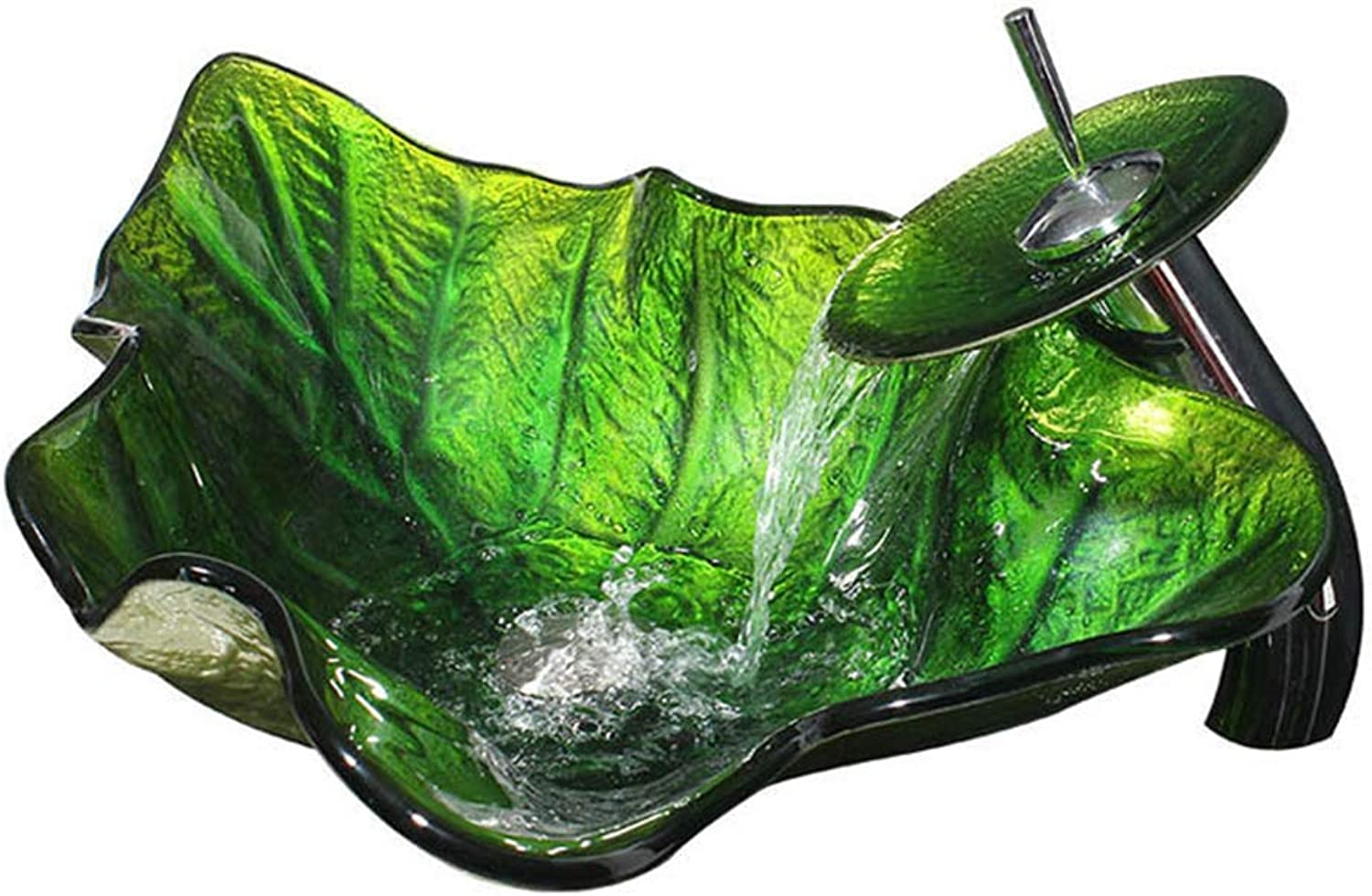 QZX Basin Set Hand Painted Green Leaf Shape With Mixer Pop Up Drain Sink Set Bathroom Vessel Faucets&Tap