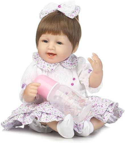 QXMEI Baby Puppe 16 Zoll Weißen Silikon Babys Realistische Simulation Puppen K en Sätzen Und Liegen Kinder Geburtstag Geschenk