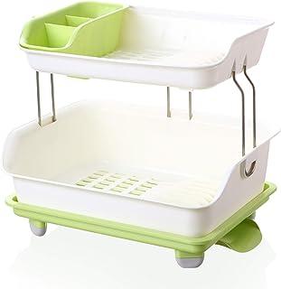 XCXDX Étagère À Vaisselle en Plastique À 2 Niveaux avec Égouttoir (3PCS)