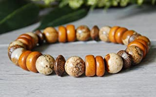 Mens Earthy Wood Orange Brown Picture Jasper Beaded Boho Bracelet Autumn Fall Fashion for