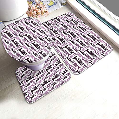 ruziniujidiangongsi Purple Mellophones Bathroom Antiskid Pad Mats Set 3 Piece Bath Mat + Contour + Toilet Lid Cover