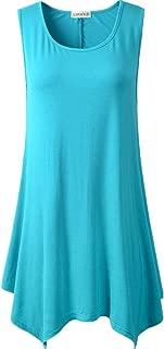 LARACE Lanmo Women Plus Size Solid Basic Flowy Tank Tops Summer Sleeveless Tunic(1X, Lake Blue)