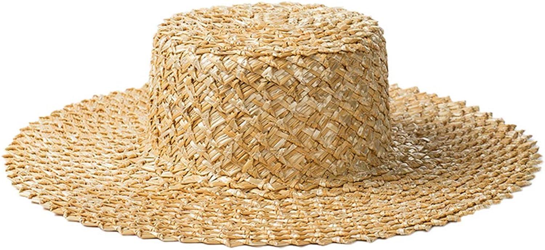 Nafanio Women Lace Straw Hats Caps Ladies Outdoor Flat Top Panama Short Brim Beach Sun Hat