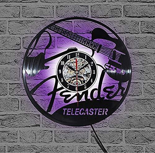 CHANGWW Vinyl-Schallplatte Design Wanduhr TV-Sender Musikzimmer Wanduhr Multicolor Glow-No_led_Light