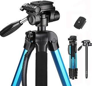 Trípode de Cámara (53cm-182cm) Trípode Liviano de Aluminio Trípode Plegable de con Soporte para Teléfono Compatible para Cámara Digital SLR Canon Nikon Sony con Bolsa de Transporte - Azul