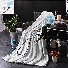 EDZEL Custom Blanket Baby Shower Stork Delivering Baby Bedroom Warm 84x54 Inch