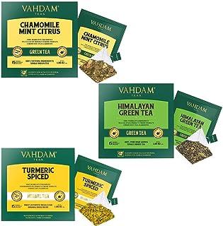 VAHDAM, 30-Day Fitness Pack (90 Tea Bags) I Chamomile Mint, Himalayan Green Tea & Turmeric Spiced I POWERFUL ANTIOXIDANTS,...