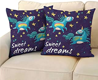 RuppertTextile Sweet Dreams Customized Pillowcase Unicorn Night Sky Suitable for Hair and Skin Health W14 x L14