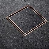 TNR® siphon de sol Antique bronze rouge carré 120 * 120mm Meilleur siphon de sol en laiton avec grille amovible avec insert de carrelage fort impact visuel