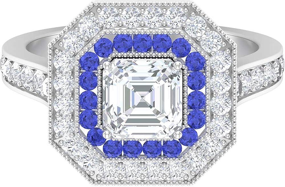 Ranking TOP13 6 MM Asscher Cut quality assurance Moissanite Tanzanite Ring Created Lab D-