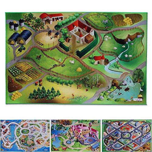 Floori® Spielmatte Auf dem Land | Bauernhof | Phthalat-frei | erweiterbar zu einer riesigen Spiellandschaft | 100 x 150 cm