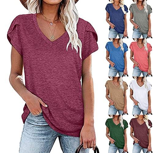 Qienjn Camiseta Mujer Sexy con Cuello En V Cómoda Fibra Elástica Transpirable Camiseta Mujer Suelta Y Elegante Camiseta Larga para Mujer A-Purple L