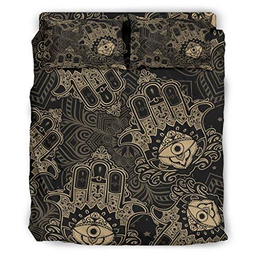 Hamsa Hand Vierteiliges Bett Twin Bettwäsche-Set 4 mit Reißverschluss Enthalten Weich 1 Bettbezug & 1 Bettdecke & 2 Kissenbezug White 240x264cm