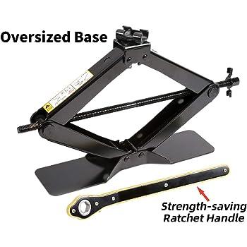 LEADBRAND Black Steel Scissor Jack, 2.5 tons (5,511lbs) Capacity, with Ratchet Handle, Oversized Base