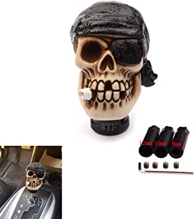 WYF Universal Shift Knob One-Eyed Pirate Smoking Style Gear Stick Shifter Knob for Most Manual or Automatic Gear Without Button (Black)