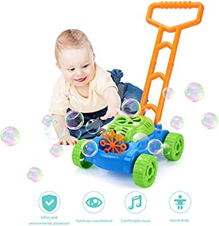 HAMKAW Lawn Mower Bubble Machine for Kids, Electric Automatic Bubble Blower Maker - Durable, No Spill & Battery Operated, Fun ECO Baby Bath Bathtub Party Outdoor & Indoor Bubble Blowing Toys