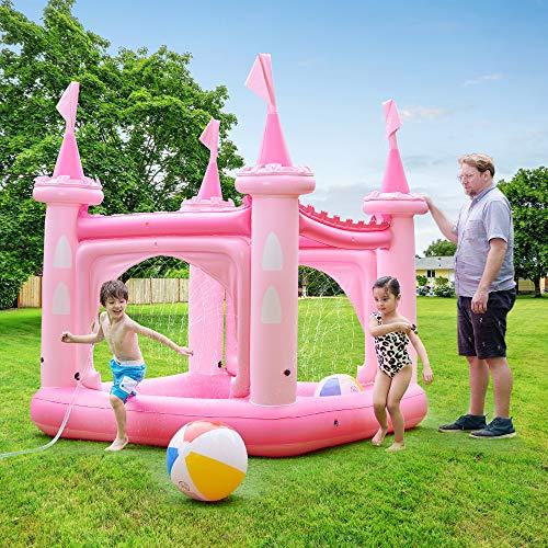 Teamson Kids Château Gonflable air de Jeux Aquatique Piscine pour Enfant avec arroseurs...
