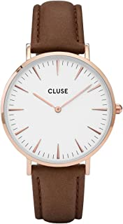La Bohème Rose Gold White Brown CL18010 Women's Watch 38mm Leather Strap Minimalistic Design Casual Dress Japanese Quartz Elegant Timepiece