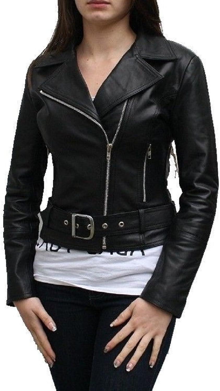100% New Genuine Leather Lambskin Women Biker Motorcycle Jacket Ladies LTN251