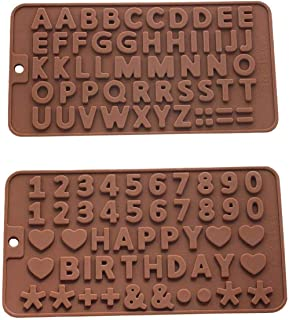 Lifreer Silicone Letter Mold and Number Chocolate Molds Ton Silicone Alphabet and Number Cake Baking Mold Chocolate Ice Tr...
