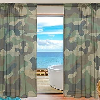 Panneau de Camouflage Militaire Rideau de fenêtre drapé 55x78 Pouce 2 pièce pour Chambre Salon Chambre Enfants